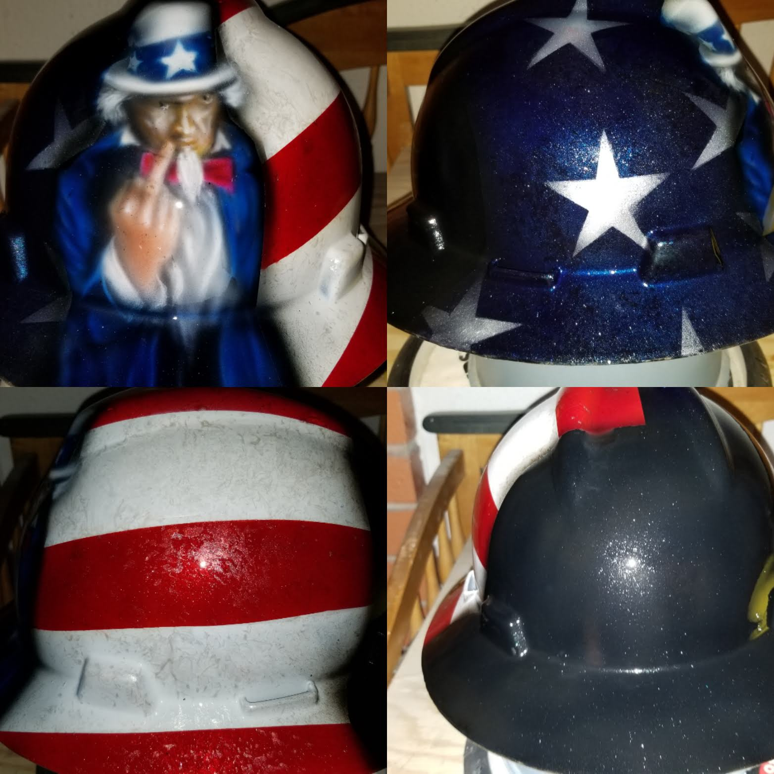 custom hard hat Uncle Sam flipping the bird